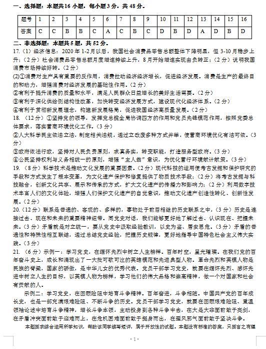 2021�眠 ��省葫�J�u市高三下�W期政治5月第二次模�M考��}答案(下�d版)