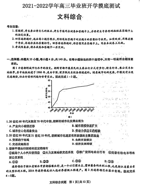 2022届信阳实验高级中学高三文综开学摸底测试试题(图片版)1