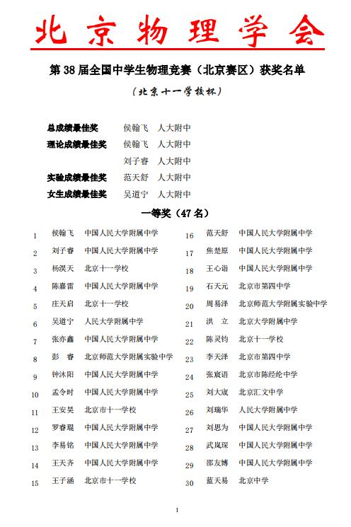 第38届全国中学生物理竞赛(北京赛区)获奖名单1